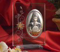 Large Italian Silver First Communion Girl Icon On A Glass Stand With Swarovski Crystals