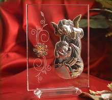 Italian Silver Guardian Angel icon on a glass stand with Swarovski Crystals