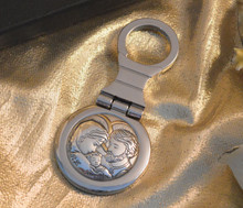 Italian Silver Holy Family Icon Keychain Made in Italy