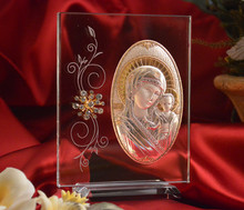 Italian Silver Greek Orthodox Mother Mary icon on a glass stand with Swarovski Crystals
