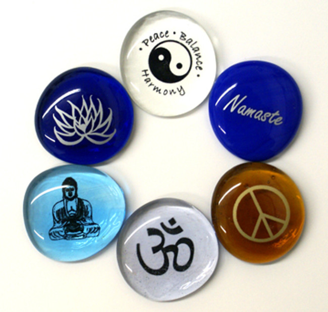 Peace, Balance, Harmony Glass Stones, set of six