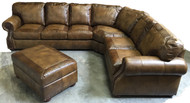 Sofa split wedge + Loveseat Split Config #2, Ottoman extra (Shown in Ashton Chestnut/Croc tooling and window panes)