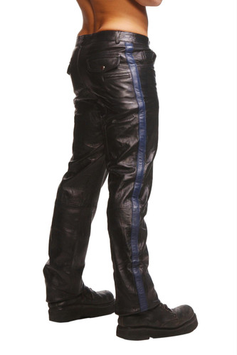 Police Leather Pants with Blue Stripe Size : 32-32