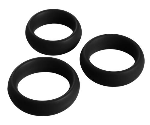 3 Piece Silicone Cock Ring Set (Black)