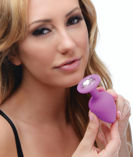 Purple Pleasure 3 Piece Silicone Anal Plugs with Gems (AE902-Purple)