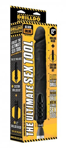 12 Inch Black Dildo with Drilldo Bit