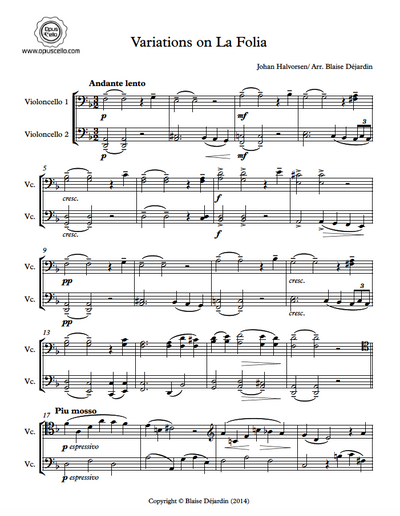 First page of the sheet music for the Variations on La Folia by Halvorsen for cello duo.