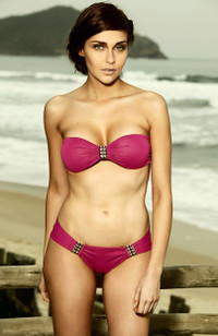 Sunset Pink Bandeau Bikini with Scoop Bottom