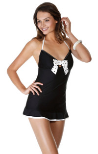Bow Halter Black & Cream Swimdress