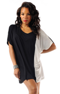 Black & White Slub Knit Cover-Up