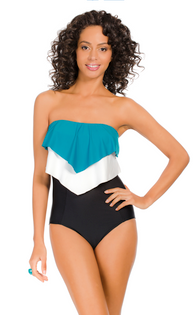 Eco Layered Ruffle Bandeau One-Piece - Sea Blue