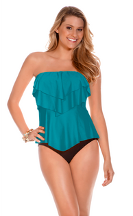 Eco Layered Ruffle Bandeau Tankini - Sea Blue
