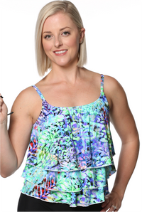Mastectomy Triple Tier Tankini Top - New 2019 Prints!