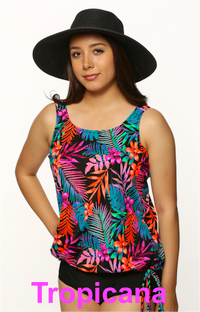 Mastectomy Blouson Tankini Top - Size 18 in Tropicana