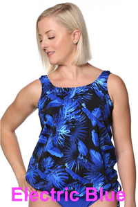 Blouson Tankini Top - Size 16D/DD in Electric Blue