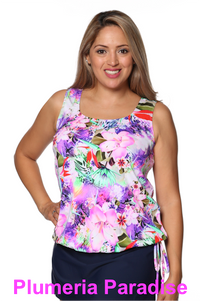 Mastectomy Wear Your Own Bra Tankini Top in Plumeria Paradise