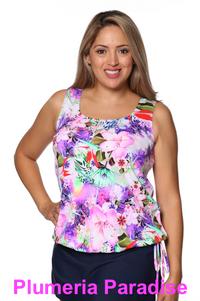 Mastectomy Wear Your Own Bra Tankini Top in Plumeria Paradise