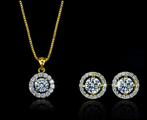 Gold/Silver plated Round shape Earring and Necklace Set