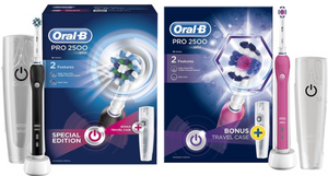 Oral-B Pro 2500 or 3D White Electric Rechargeable Toothbrush with Optional Plug
