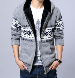 Men's Fleece Lining Hoodie Jacket Winter Warm Coat