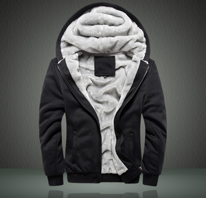 Men's Extra Soft Fleece Lining Hoodie Jacket Winter Warm Coat