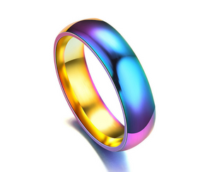 Stainless Steel Unisex Rainbow Ring