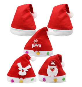 5PCS Unisex Men Women Christmas Santa Claus Caps Hat with Christmas Decoration for Adults and kids