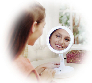 Travel Mirror with LED light and 1X/10X Magnifying mirror