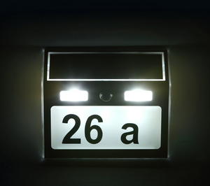 Motion Detection Solar Powered LED Customized House Number Plate