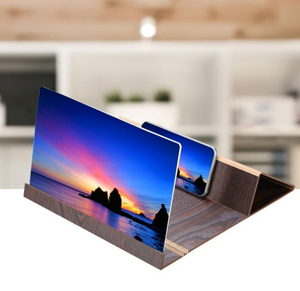12'' 3D High Definition Mobile Phone Screen Amplifier with Wood Grain Stand Anti-radiation