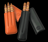 Diamond Crown Exquisite Leather Cigar Case - Churchill 3 Finger in Tan