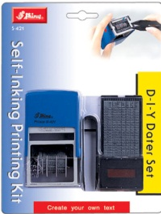 Shiny® Self-inking Printing Kit with Dater - 4mm Text - 5 Lines (Blistercard)
