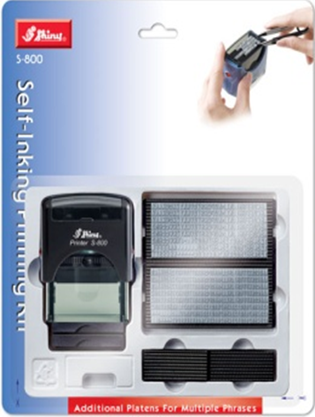 Shiny® Self-Inking Printing Kit - 3mm + 4mm Text - 4 Lines (Blistercard)