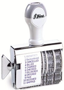 Shiny® Dial-A-Phrase Date Stamp (11 Phrases)