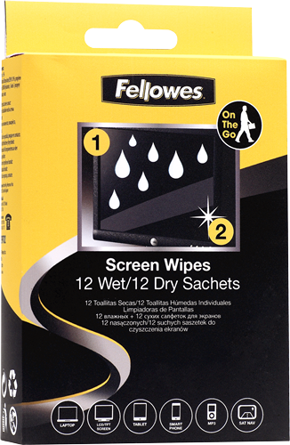 Fellowes Screen Cleaning - 12 Pack Twin Wet/Dry Wipes (PK12)