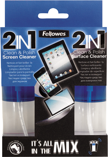 Fellowes Technology Cleaning - 2IN1 - Screen and Surface Cleaner & Cloth - 125ml Spray Bottle