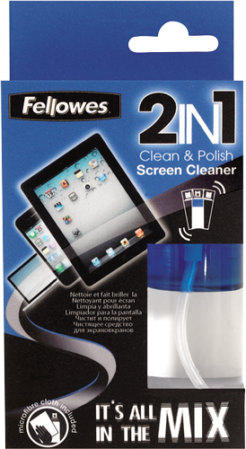 Fellowes Technology Cleaning - 2IN1 - Screen Cleaner & Cloth - 50ml Spray Bottle