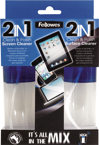 Fellowes Technology Cleaning - 2IN1 - Screen and Surface Cleaner & Cloth - 50ml Spray Bottle