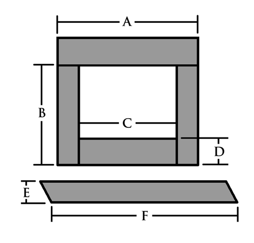 """To price a standard set with or without cuts, make selections in the drop down menus.  If the length dimension of the Header needs to be reduced, enter the new dimension as dimension A.  If the Legs need to be shortened, enter the new Leg Height as dimension B.  If you need a Riser, make that selection and if it needs to be cut, enter the new Riser dimensions in the boxes C and D.  And finally, if the Hearth needs to be cut down, make the proper selection and enter new Hearth dimensions for E and F.  Note:  If you do not supply new dimensions, the facing will ship its standard size, without cuts ...  NOTES: 1) There is no edge polishing on slate  2) Please don't enter dimensions larger than our standard dimensions and; contact us for a quote for over-sized sets  3) Nominal thickness is 1/2"""""""
