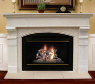 Classic to transitional styling in this beautiful stone mantel