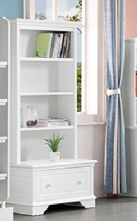 Luna Bookcase with Toy Box features three large shelves and a toy box which slides in and out like a drawer. Toy box drawer is on metal premium runners.