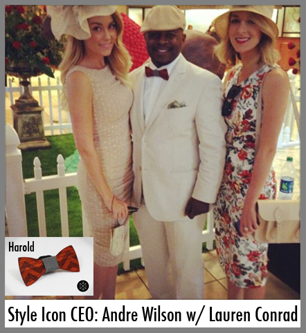 Style Icon CEO, Andre Wilson wears a wooden bow tie to the Kentucky Derby.
