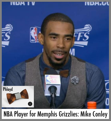 NBA player, Mike Conley sports a wooden bow tie.