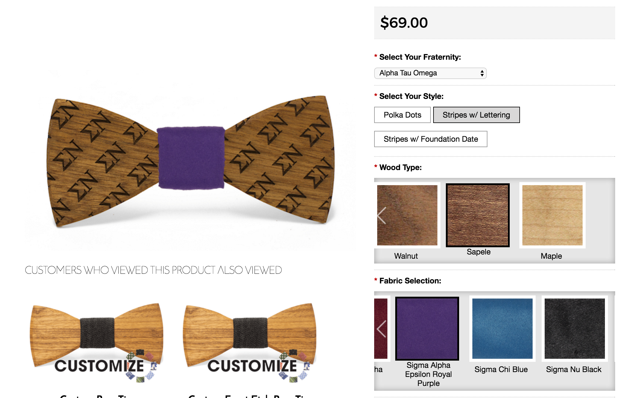 e460008b62b5 Simply visit our Custom Fraternity Bow Tie Builder by clicking here and  we'll interactively show you exactly what your bow tie will look like.