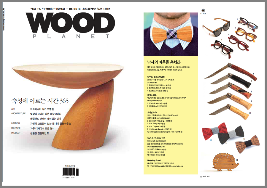 Wood magazine featured Two Guys Bow Ties.