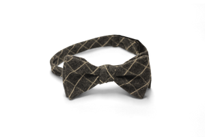 Charcoal Linen with Ivory Windowpane - Bow Tie