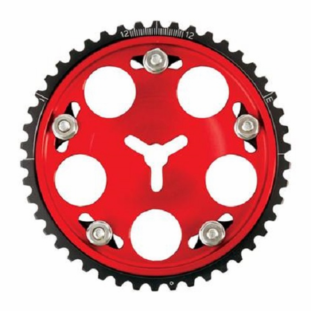Par tNumber: fid986236 Description: Cam Gear; Square Tooth Title: Fidanza Cam Gear Adjustable Ford 2.3L SQ Red Color: Red