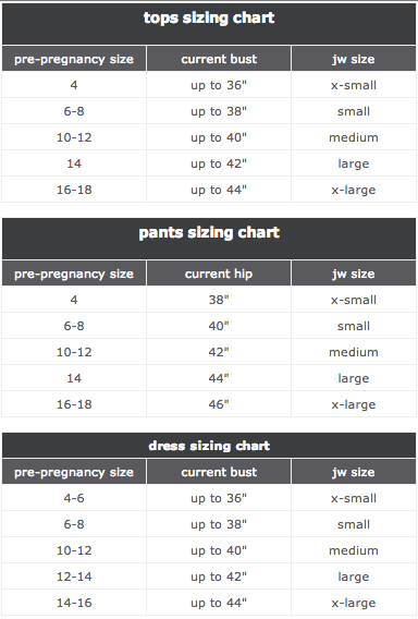Motherhood Closet Japanese Weekend Size Chart