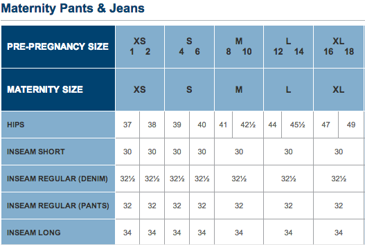 Maternity Size Chart Motherhood Closet Maternity