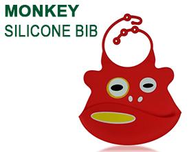 Monkey Silicone Baby Bib